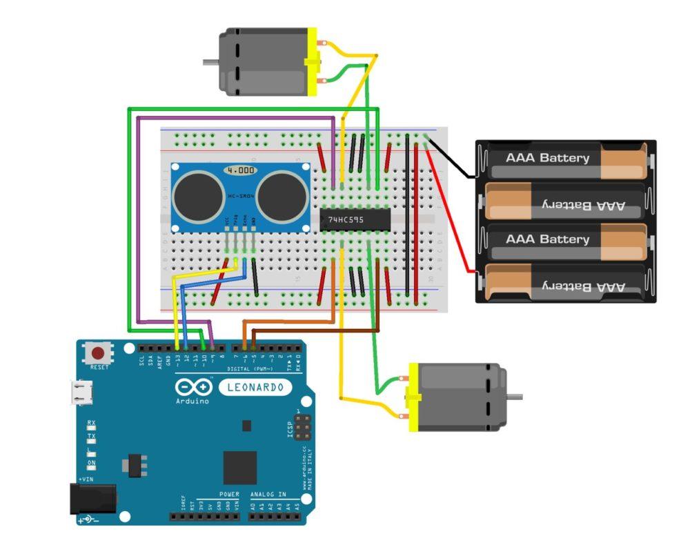Pojazd - schemat Arduino