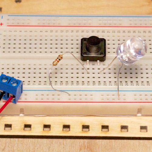 Płytka prototypowa dioda przycisk