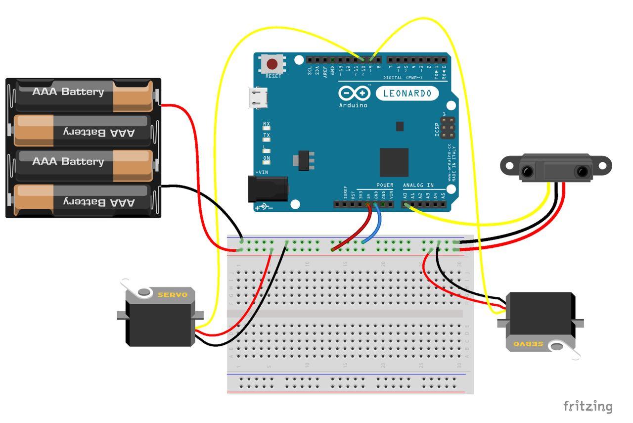 Czujnik odległości kontrolowanie serwomotorów